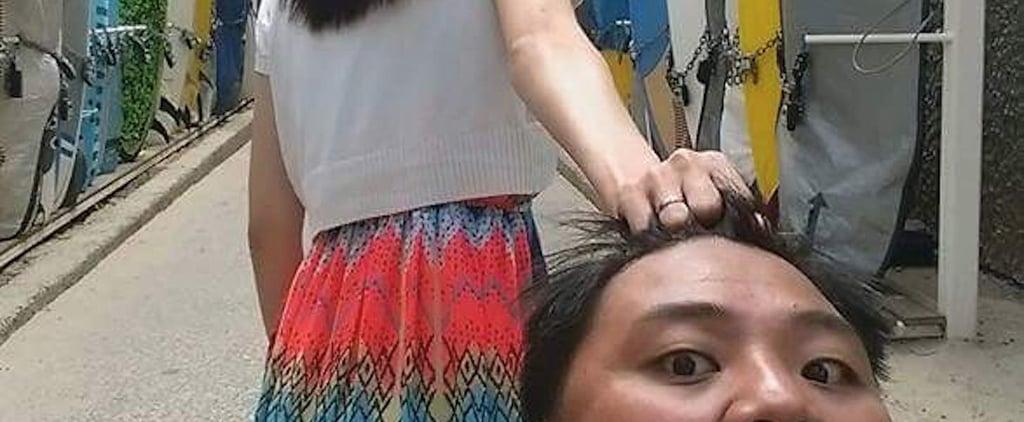 صور طريفة لزوجة تمسك زوجها من شعره