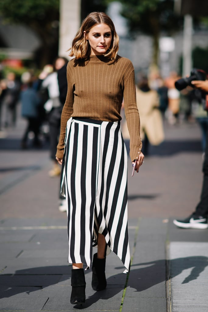 At Roland Mouret, Olivia mixed a bold striped skirt with a simple ribbed knit top.