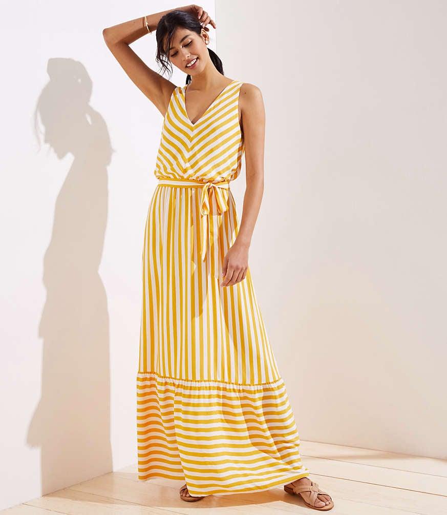 Loft Chevron Flounce Maxi Dress