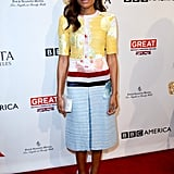Naomie Harris took the ladylike route in a pastel colored sheath and Edie Parker clutch in hand at the BAFTAs.