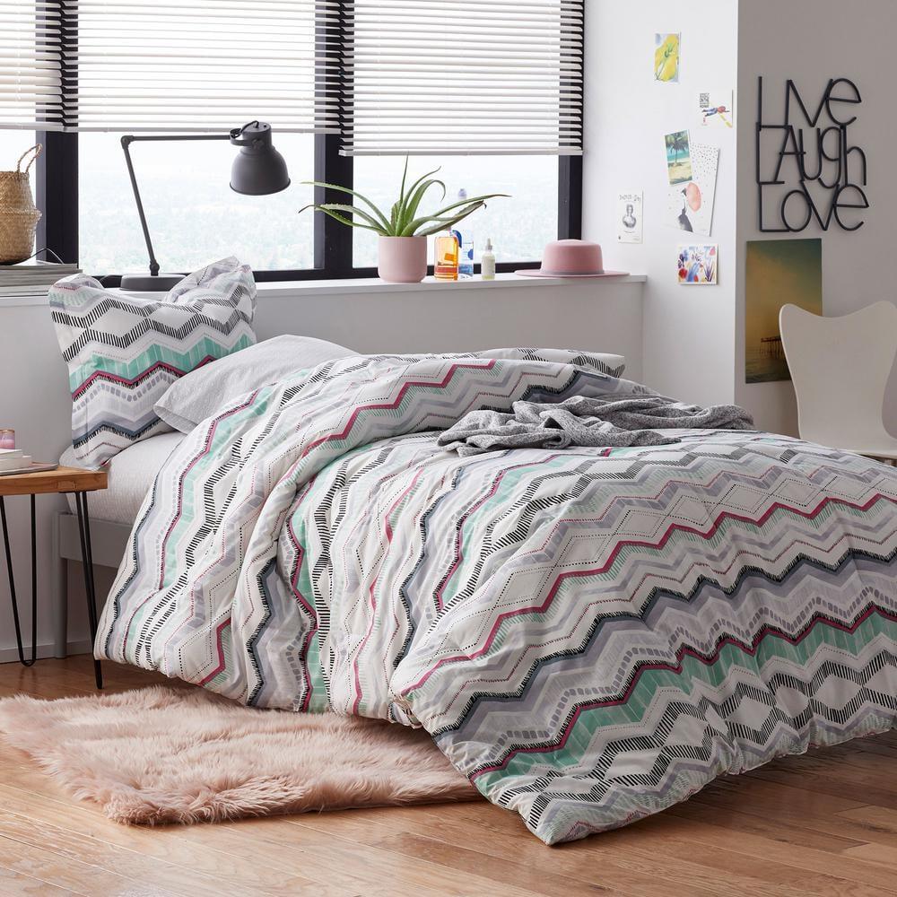 The Company Store Lacey 3-Piece Multicolored Striped Cotton Percale Full