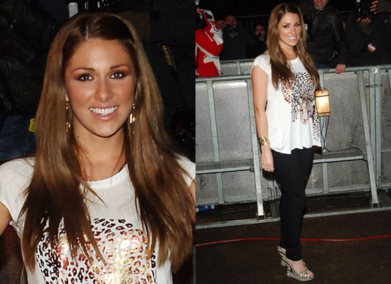 Lucy Pinder's Gold Leopard T-shirt Outfit