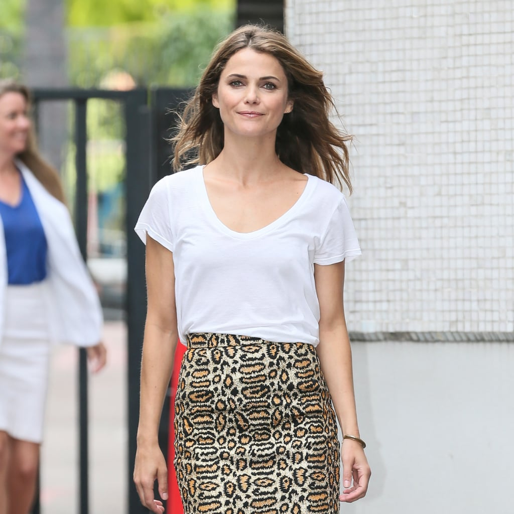 Keri Russell's Pencil Skirt and T-Shirt Street Style