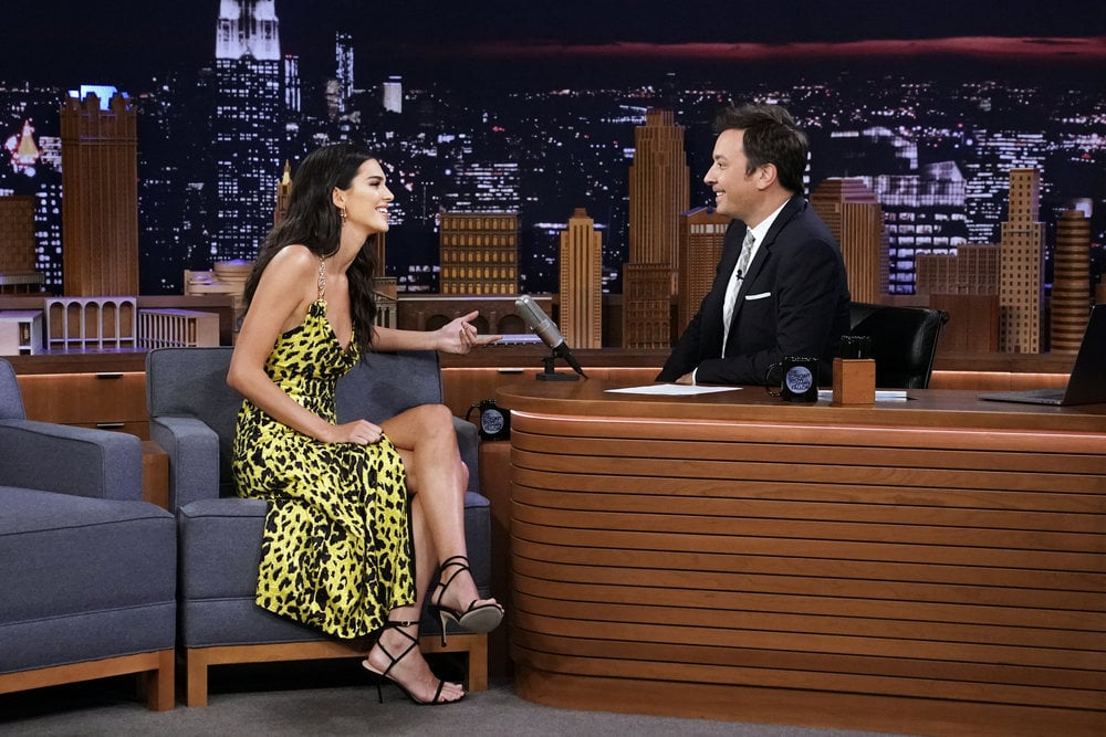 Kendall Jenner pulled out all the stops on a visit to The Tonight Show Starring Jimmy Fallon on Thursday, appearing in a shimmering cowl-neck midi dress with a seriously high slit. She teamed the yellow leopard design with a pair of Stuart Weitzman black suede Merinda sandals and a pair of gold drop earrings that matched the chain straps of the dress.      Related:                                                                                                           Kendall Jenner Paired Her Metallic Minidress With $70 Sneakers — Bingo               While chatting with Jimmy, Kendall shared some secrets about how her sister Kim Kardashian named her son Psalm, but she also got to chatting about her niece North's intense love of fashion. Though North's often spotted twinning with her mom, it turns out she also shares a few style secrets with her model aunt. Kendall revealed that the pair of them even own the same Prada top, and by tailoring it to suit their bodies, then ended up looking like they'd shared the same garment. Something tells us it'll be a while before North fits into Kendall's latest stylish look, but there's definitely a case for stashing this dress away for future: the slinky number has real '90s throwback vibes, and no doubt that look will come back just in time for North's generation to give it another outing. Keep reading for a closer look at the dress and to see Kendall share those family stories in full.