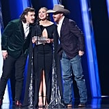 Morgan Wallen, Hannah Brown, and Cody Johnson at the 2019 CMA Awards