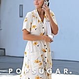 Selena Gomez Floral Shirt Dress September 2018