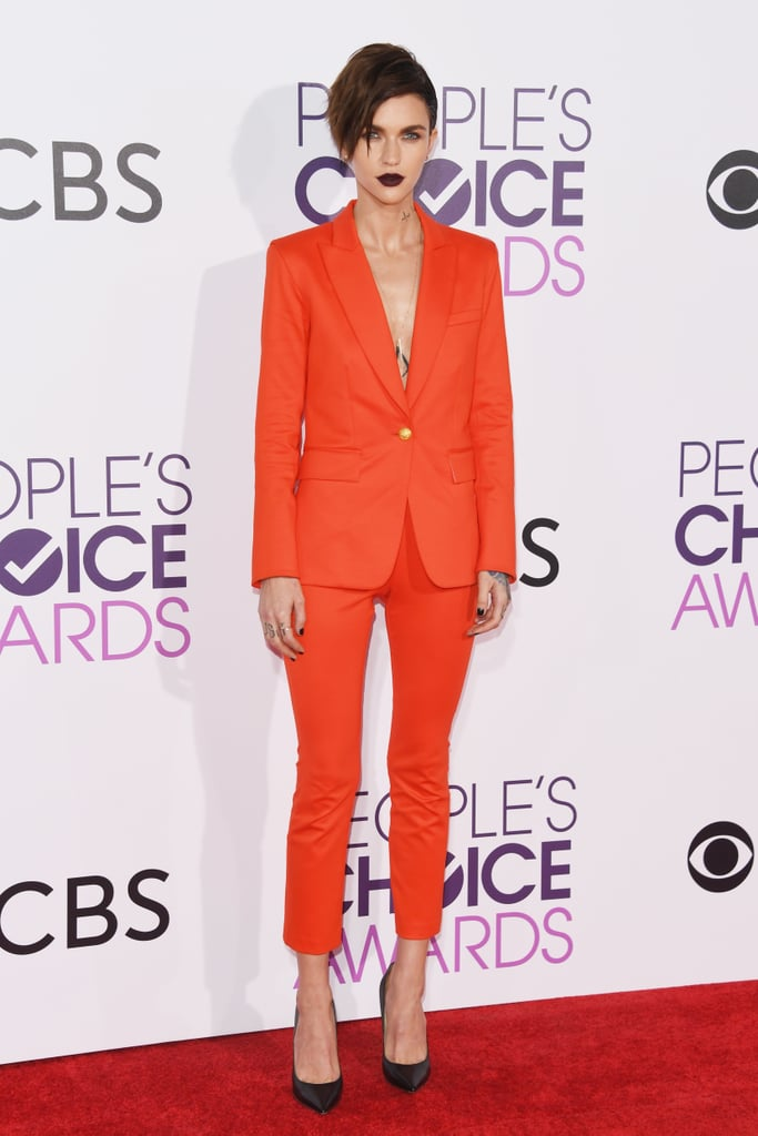Ruby Rose Wore an Orange Trouser Suit Set by Veronica Beard