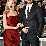 Scarlett linked up with costar Chris Evans at the UK premiere of Captain America: The Winter Soldier in London in March 2014.