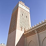 """They call Marrakesh the """"red city,"""" because almost every building has a rose tint. This was a tower outside the Saadian Tombs, and I was completely obsessed with the design of it."""