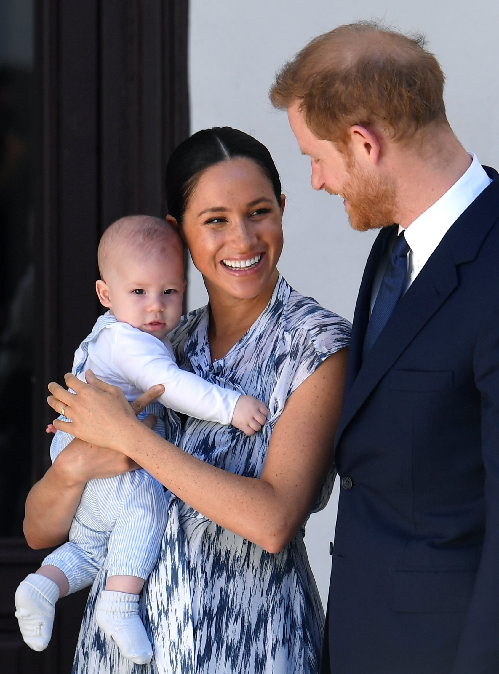 CAPE TOWN, SOUTH AFRICA - SEPTEMBER 25: Prince Harry, Duke of Sussex, Meghan, Duchess of Sussex and their baby son Archie Mountbatten-Windsor meet Archbishop Desmond Tutu at the Desmond & Leah Tutu Legacy Foundation during their royal tour of South Africa on September 25, 2019 in Cape Town, South Africa. (Photo by Toby Melville - Pool/Getty Images)