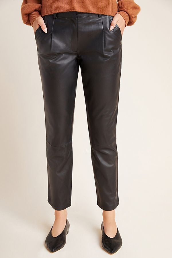 Anthropologie Bagatelle Tapered Leather Trousers