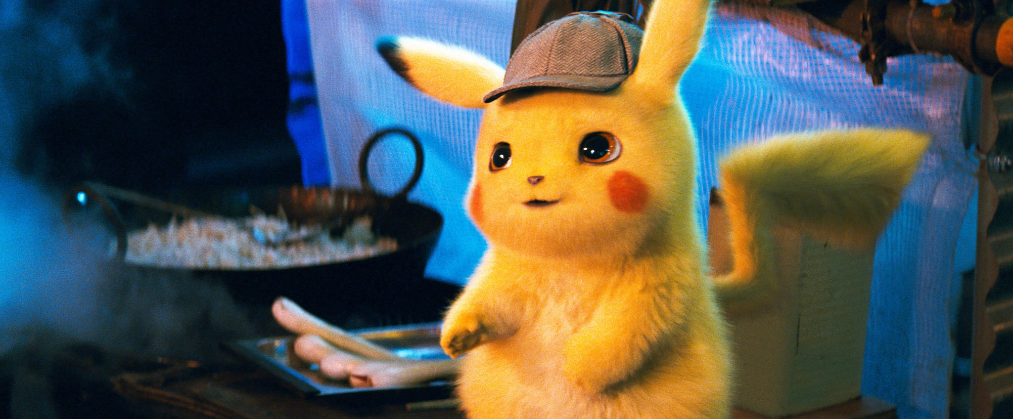 POKEMON DETECTIVE PIKACHU, Detective Pikachu (voice: Ryan Reynolds), 2019.  Warner Bros. / courtesy Everett Collection