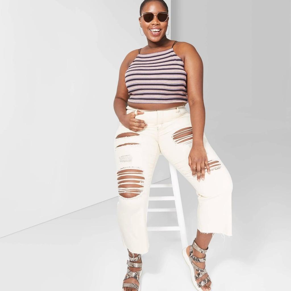 101efc733 Women's Plus Size Striped Square Neck Elastic Strap Tank Top | Best ...