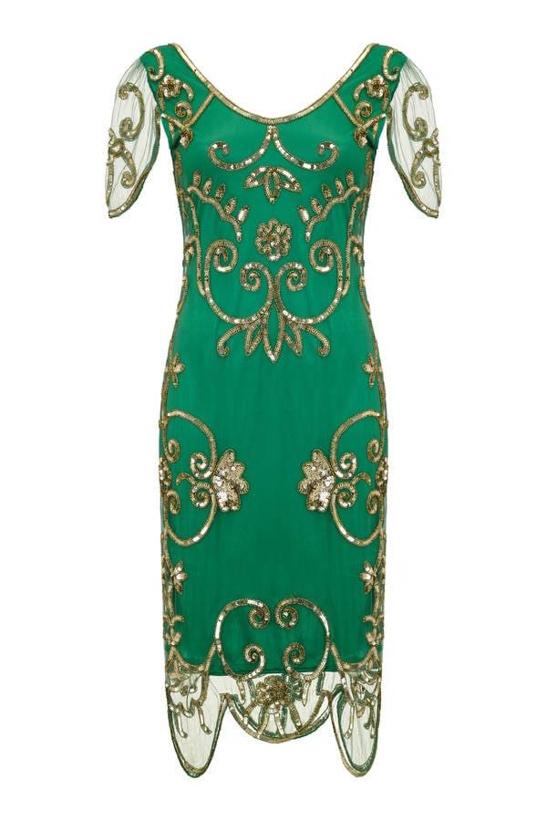 GatsbyLady Green Short Sleeved Embellished Dress (£99)