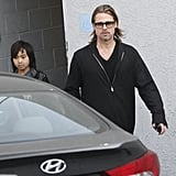 Brad Pitt Jumps Into a Guys' Day at the Guitar Center With Maddox