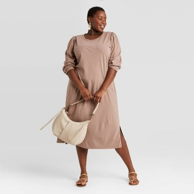 Chill Vibes: Universal Thread Puff Long Sleeve T-Shirt Dress