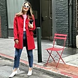 Red Wool Coat: Ready For the Weekend in a Bold Sweater and White Booties
