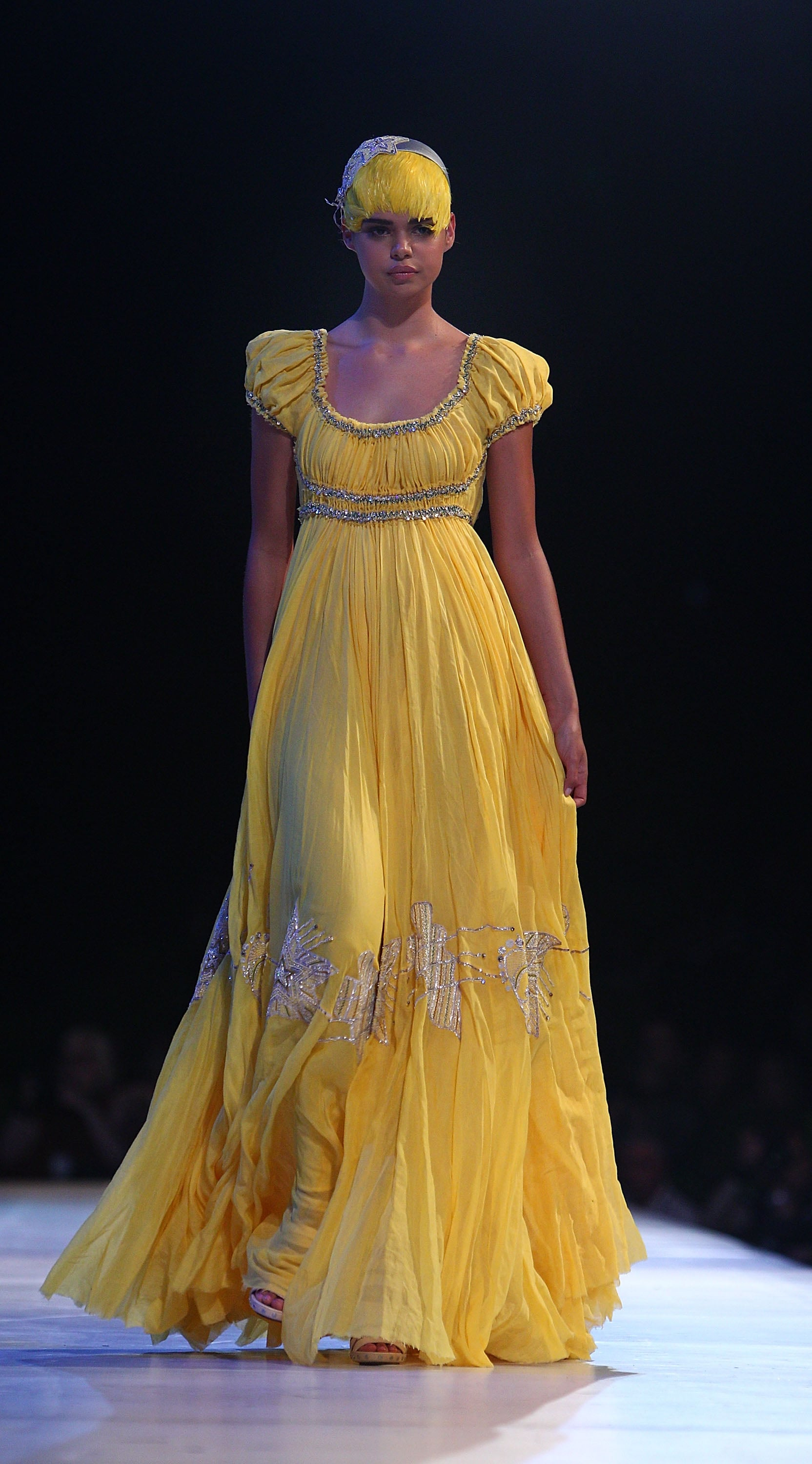 Mellow yellow! This dramatic dress was part of the Fashion Full Stop: Decades of  Australian Fashion and Music show.