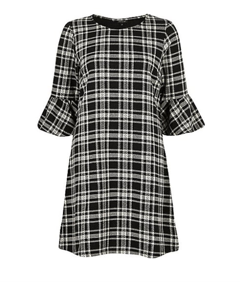 River Island Black and White Checked Flute Sleeve Dress (£35)