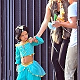 Jessica Alba held the hand of Princess Jasmine, Honor Warren.