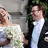 The newlyweds share a laugh.