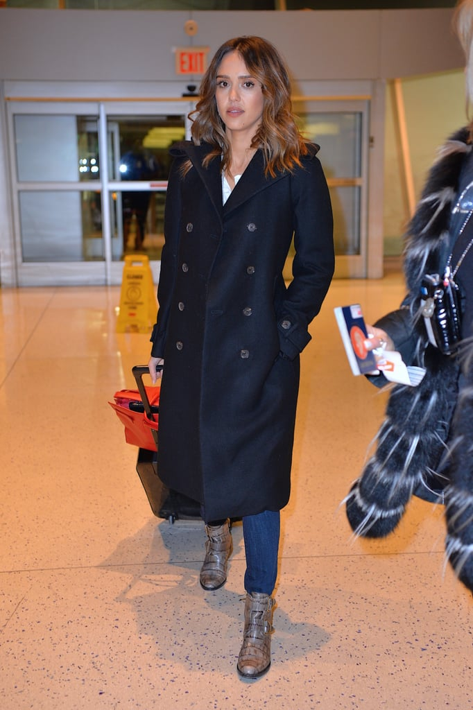 A warm Winter styling hack that this star's a fan of? Tucking her skinny jeans into her booties.