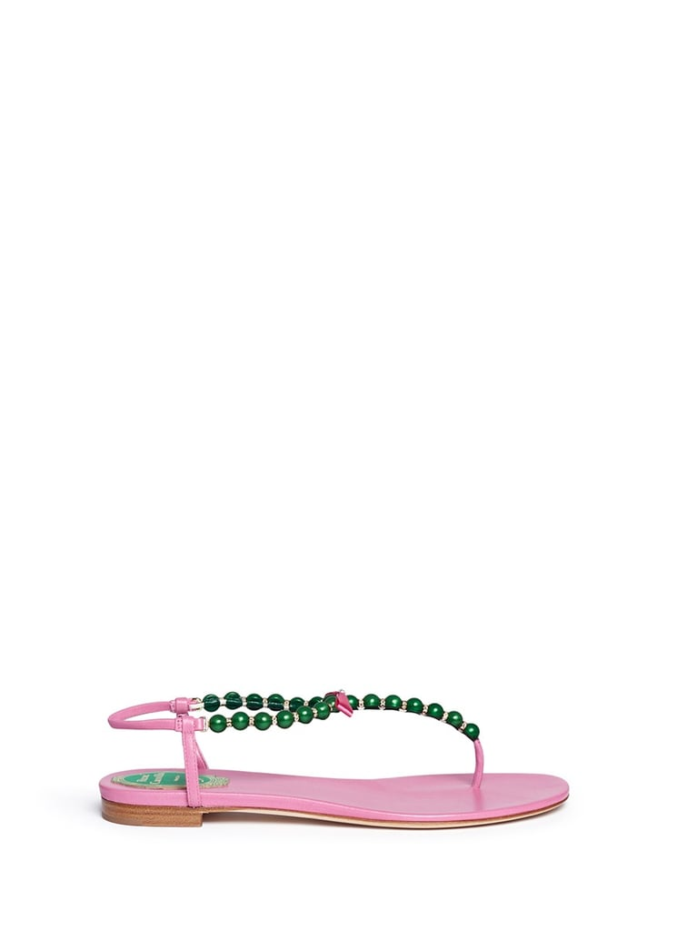René Caovilla Pearl Crystal Pavé T-Strap Leather Sandals