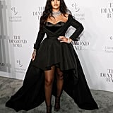 For the star's third annual diamond ball in Sept. 2017, Rihanna wore a dramatic black Ralph & Russo couture gown.