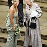 During her brother Peter Phillips's wedding, Zara Tindall made sure to spend some time chatting with her grandmother.