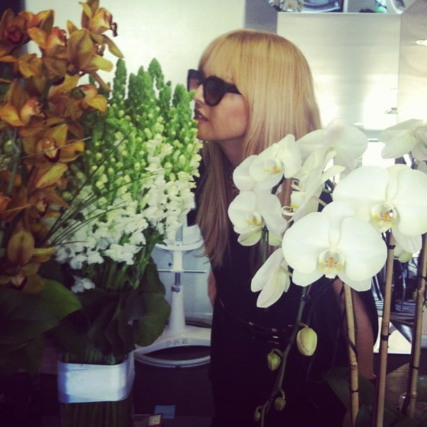 Rachel Zoe took time to sniff out a new floral delivery. Source: Instagram user rachelzoe