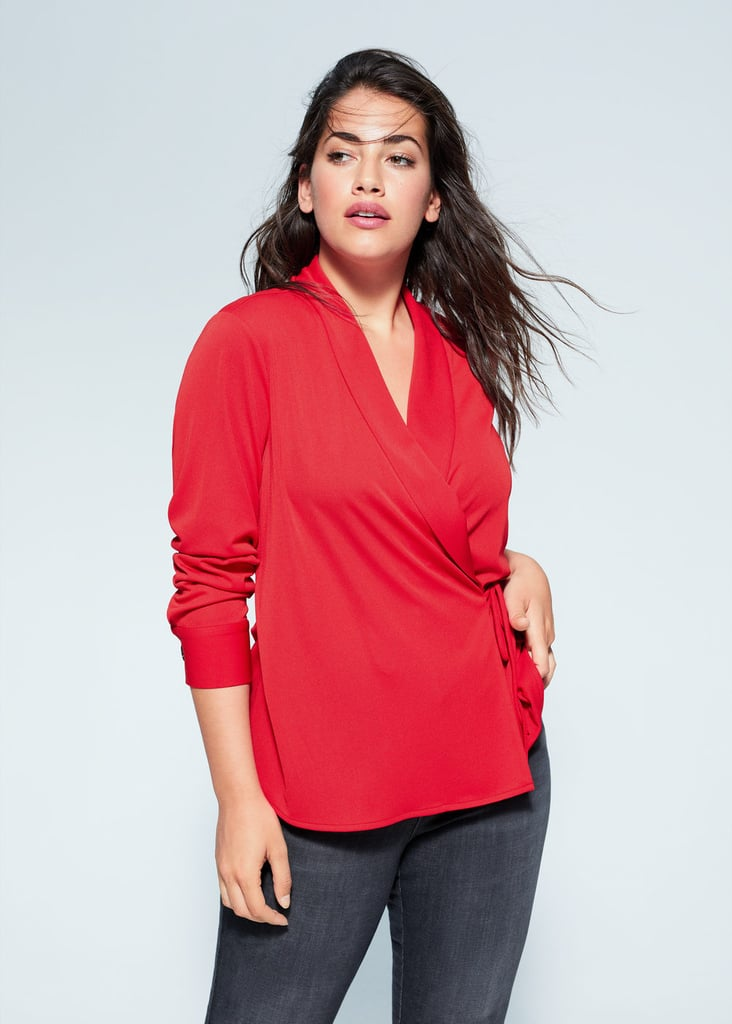 Violeta by Mango Plus Size Wrap Bow T-Shirt