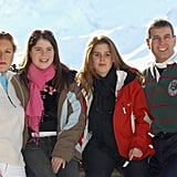 Even though they were long divorced, Sarah and Andrew still took ski trips together with their daughters. They posed for this photo in Switzerland in 2003.