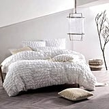 Nicole Miller Home 3pc Full Queen Squares Seersucker Texture Duvet Cover and Shams Set