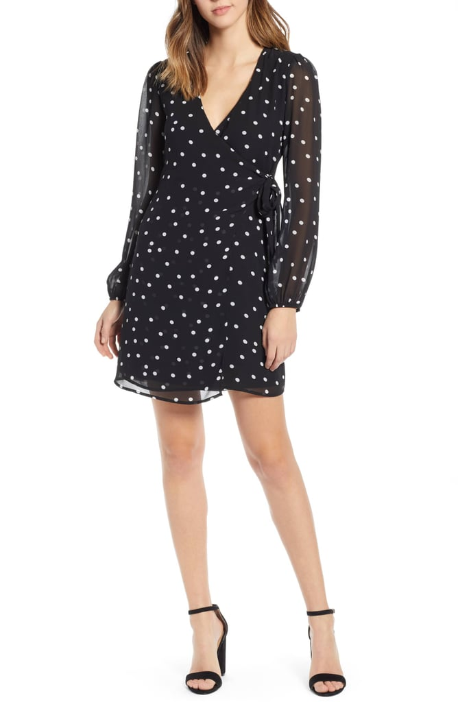 Row A Dotted Faux Wrap Dress