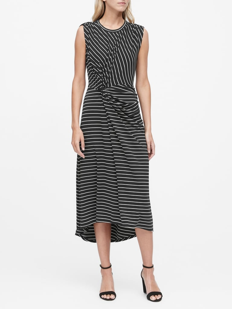 Stripe Twist-Front Midi Dress
