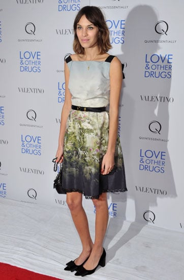 Wearing a floral silk Valentino Resort '11 frock to the New York premiere of Love & Other Drugs.