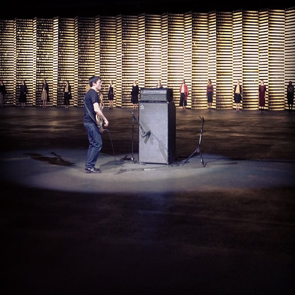 Radiohead's Colin Greenwood serenaded the crowd at Dries Van Noten. Source: Instagram user tmagazine
