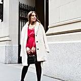 The Petite Party Dress: A Faux-Wrap Mini + Faux-Fur Coat