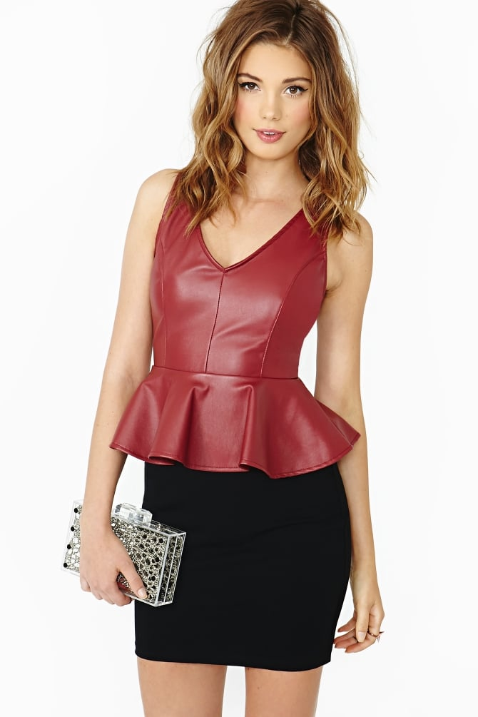 Real or not, leather can provide more shape than lighter fabrics like cotton, making it perfect for a peplum like this Nasty Gal tank ($38).