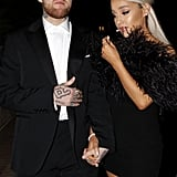 Ariana Grande Black Feather Dress at Oscars Afterparty 2018