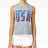 American Rag Juniors' Born in the USA Flag Graphic High-Low Tank Top