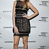 Wearing a black lace minidress with strappy pumps to the seventh annual Tribeca Film Festival in 2008.
