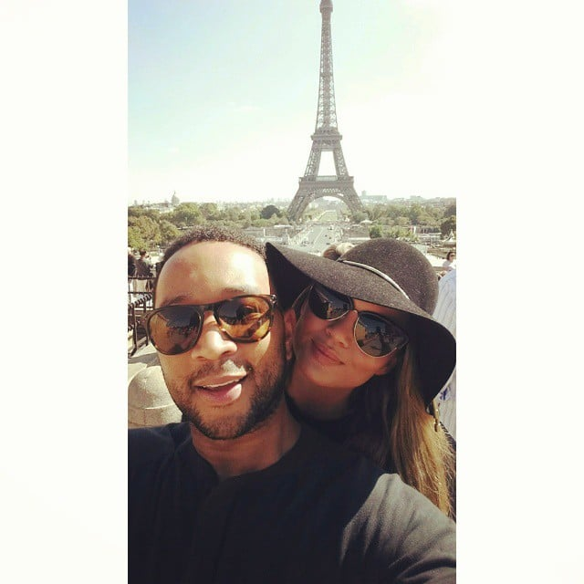 The couple took a selfie in front of the Eiffel Tower during their one-year anniversary getaway in September 2014.