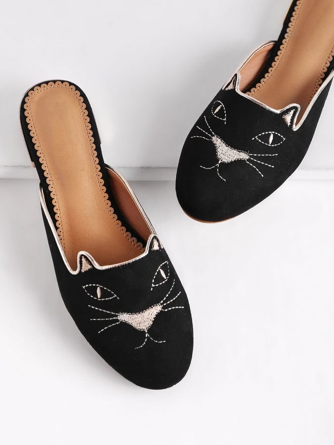 Shein Cat Embroidery Flat Slippers