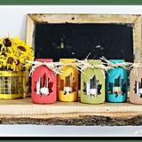 Bright Leaf Cutout Mason Jar