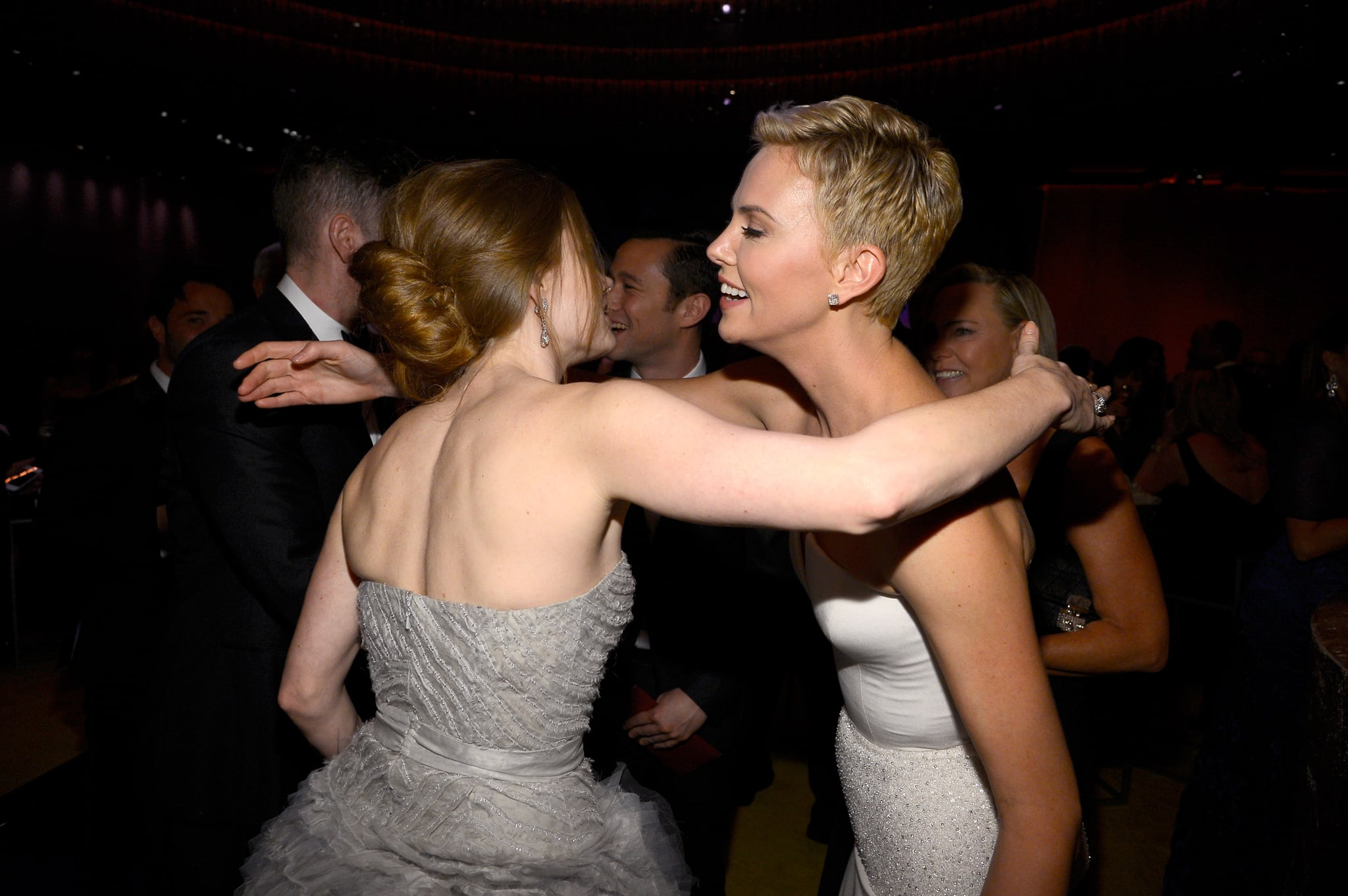 Amy Adams and Charlize Theron shared a moment at the Governors Ball.