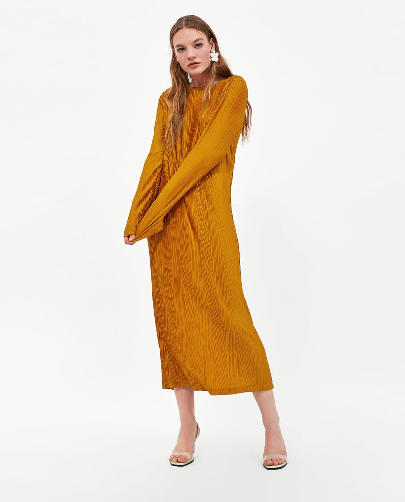 Zara Textured Pleated Dress