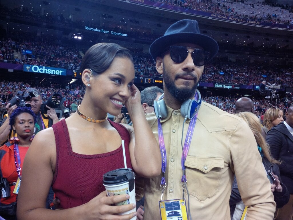 Alicia Keys and Swizz Beatz celebrated together at the Super Bowl. Source: Twitter user aliciakeys