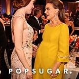 Emma Stone mingled with pregnant Natalie Portman.