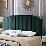 Velvet Upholstered Tufted King Headboard
